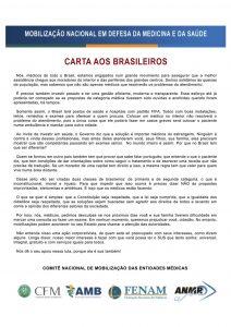 Carta dos médicos à População Brasileira